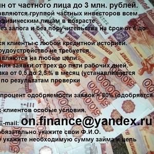 Онлайн-заем от группы частных инвесторов до 3 млн. рублей.